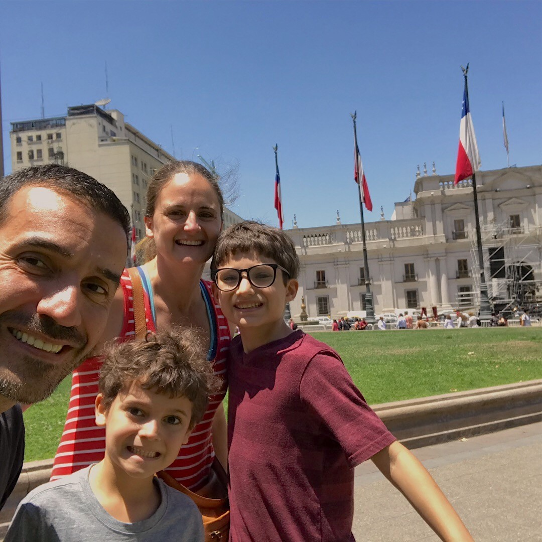 Our family in front of La Moneda, Chile's presidential palace, last month